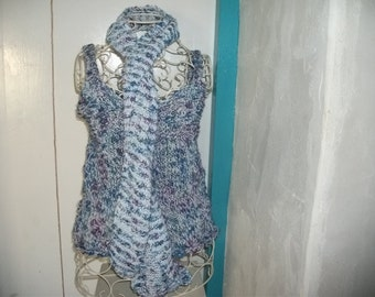 Handknitted cotton top and scarf, one size, stretchy, women
