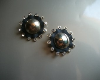 VINTAGE EARRINGS, 1980s, CLIPONS, black, gold tone, French, women