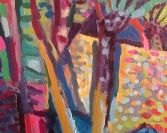 TROPICAL GARDEN, original PAINTING, oils on canvas, ready to hang, 30 x 25 cm,12 x 10""