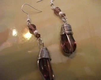 PURPLE- AMETHYST, glass and crystal, earrings