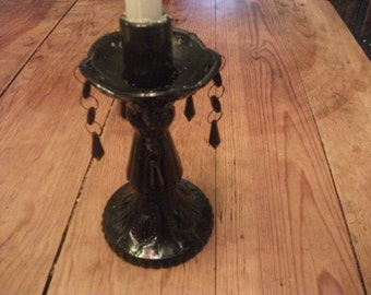 CANDLE HOLDER, BLACK glass