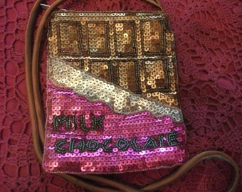 SALE-BEADED BAG, small ,over shoulder purse,pink, copper, sequins, Italian, Benetton