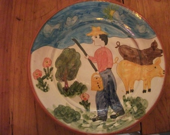 VINTAGE PORTUGUESE PLATE, signed by artist, large