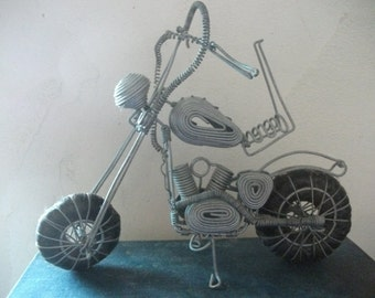 VINTAGE WIRE MOTORBIKE, Zulu, African, Art, kids, toy, sculpture, prop, metalwork