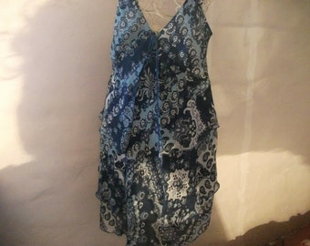 SALE- floaty summer dress, shades of blue, size M