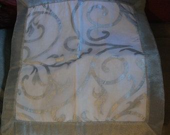 """SILVER AND WHITE cushion cover, glamour, home decor, French, 16 x 16"""", hand printed"""