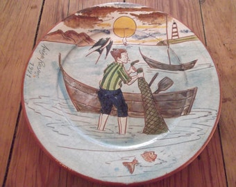 VINTAGE HANDMADE PLATE, Portuguese. signed by artist, fisherman, 1991, smoking