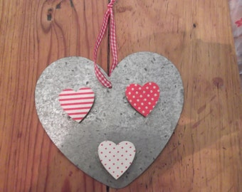 ALUMINIUM HEART , with 3 magnets, hanging, kitchen
