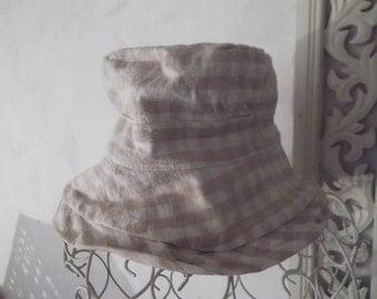 sale-PURE COTTON HAT, checks, ecru, beige, summer, beach