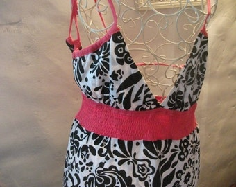 s.a.l.e-BLACK AND WHITE pure cotton dress, pink detail, summer, beach holiday