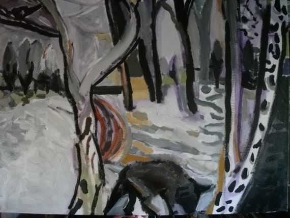 "ORIGINAL OIL PAINTING, ""Wolf in the Woods"""