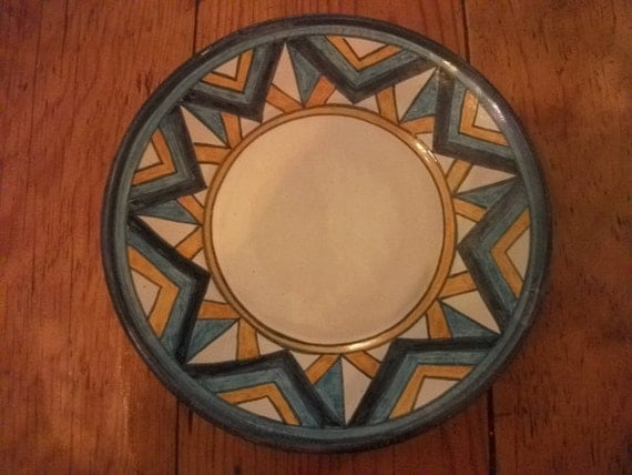 VINTAGE PLATE, geometric, blue, yellow