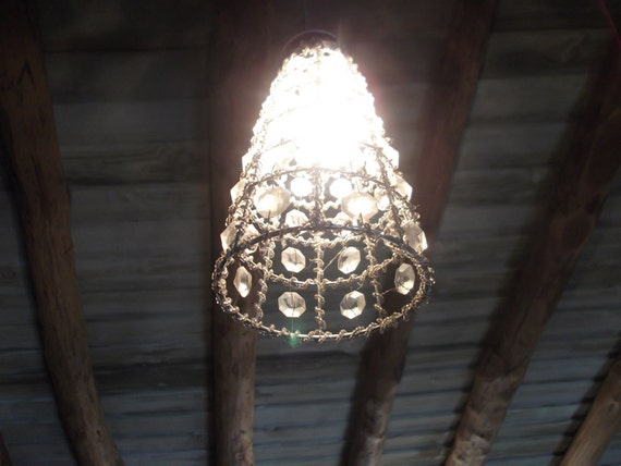 sale, METAL and GLASS lampshade, silver, clear crystal, hardwired, ready to hang, takes regular lightbulb