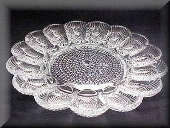 Vintage Indiana Glass Thousand Eye Egg plate Vintage