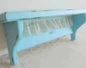 Teal Aqua Shabby Chic Shelf with Lace