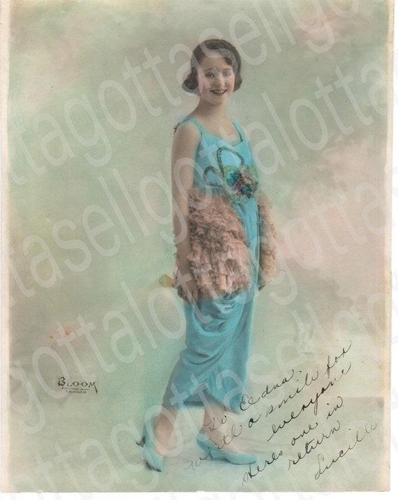 8 X10 Original 1919 Photo of Female Vaudeville Actress in Aqua Blue Dress Costume