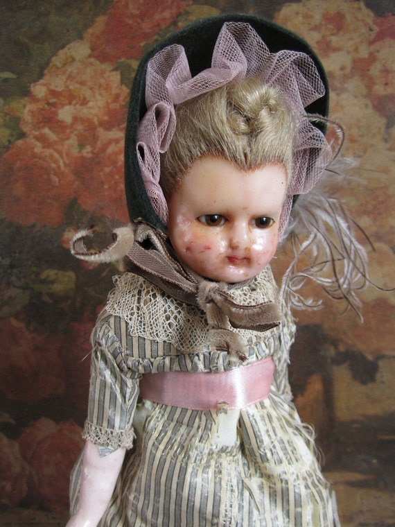 Antique, rare wax over composition doll 1800's