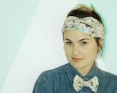 Wild Rose Lover's Turban & Bowtie Set- handmade, handsewn, fun party hat, crown, urban turban