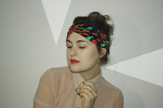 Cherry Pin-up Lover's Urban Turban, -handmade- -handsewn- with cherry bow on the back, fun party hat, 1920s style
