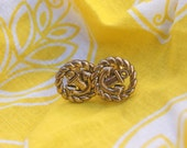 Gold Anchor Post Earrings from Vintage Buttons (limited supply)