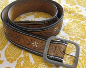 RESERVED for Jasmine /// 70s Brown Leather Belt Painted