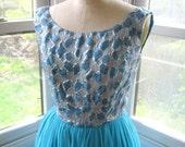 60s Blue Silver Brocade Chiffon Party Dress Extra Small