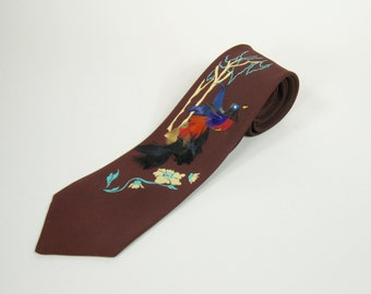 1960s Mens Bird Necktie Feather Appliqué Maroon