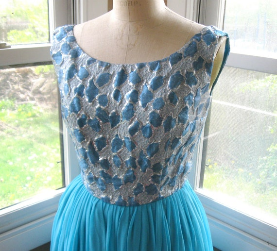 60s Blue Silver Brocade Chiffon Party Dress Extra Small