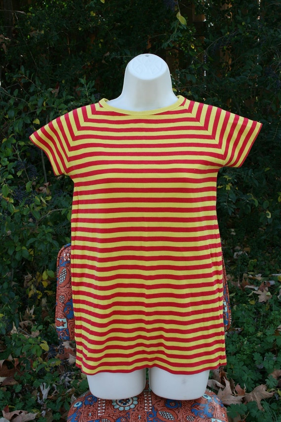 red and yellow striped shirt vintage tee get yo by
