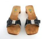 Vintage Dr Scholls sandals in Black Leather and Wood