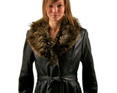 Vintage Black Leather Coat with Fur Collar by Onera