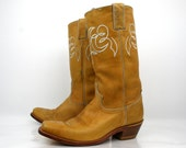 Vintage Boots by Justin in Blond Buckskin Square Toed 1980s