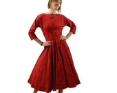 RESERVE FOR ALITZA   Vintage Red Dress Early 1960s