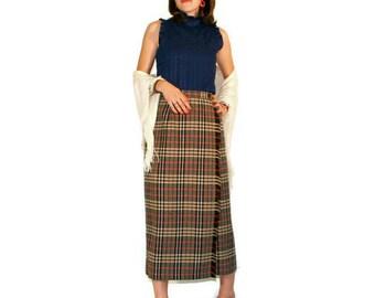 Vintage Wrap Skirt in Plaid by Evan Picone