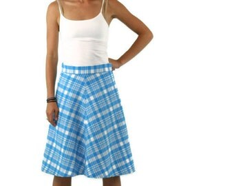 Vintage Skirt  in Sky Blue and White Plaid 1970s