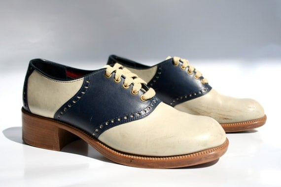 vintage blue and white 1970s saddle shoes by jc penney mens 12