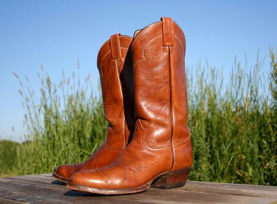 Vintage Toffee Tony Lama Cowboy Boots