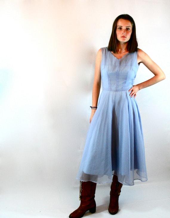 Vintage Periwinkle Blue Sheer Dress