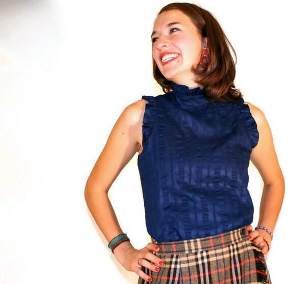 Vintage Shirt Sleeveless Navy Seersucker