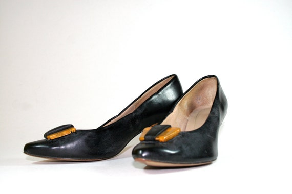 Vintage Black Leather Pumps with Gold Marble Heel