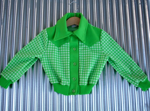 Vintage Childs Shirt in Kiwi Green Gingham  3T