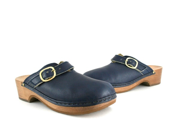 Vintage Clogs in Navy Blue Leather and Wood