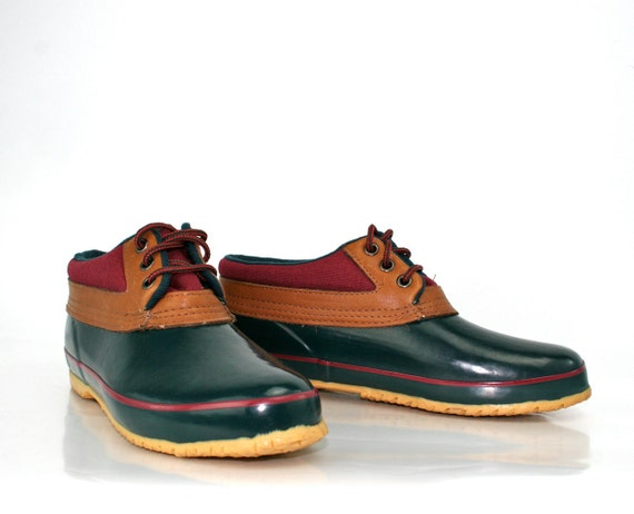 Vintage Duck Shoes in Forest Green and Maroon by Bass