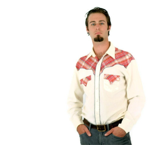 Vintage Western Shirt in Cream and Plaid Mens Large