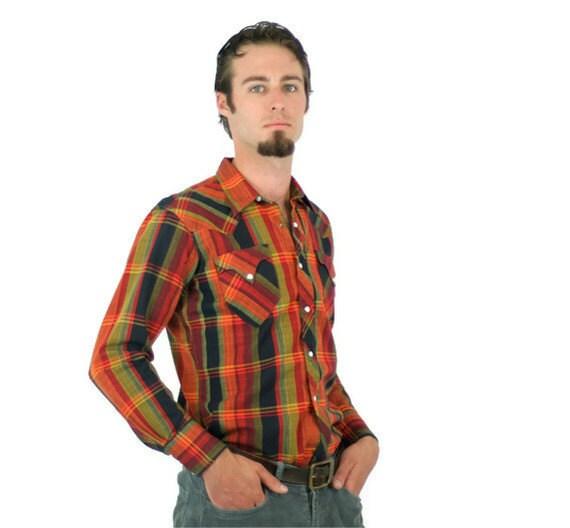 Vintage Western Shirt in Plaid Orange Yellow Red and Black Mens Medium