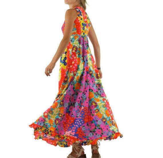 Vintage Hawaiian Dress in Neon Floral Print