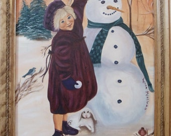 Girl and Snowman Portrait in Oil Including Frame