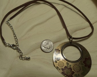 """20"""" Necklace with Gold Pendant on Brown Leather, Necklace, Brown Leather, Gold, Pendant, Round"""
