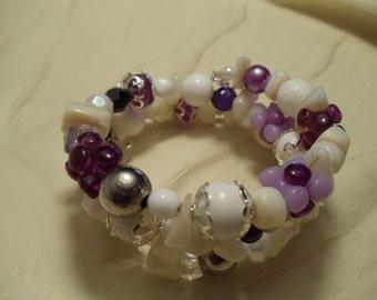 Purple Layered Beaded Bracelet on Memory Wire