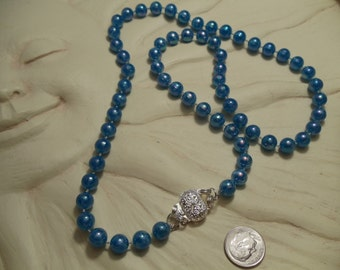 """24"""" Blue Beaded Necklace, necklace, blue, beaded"""